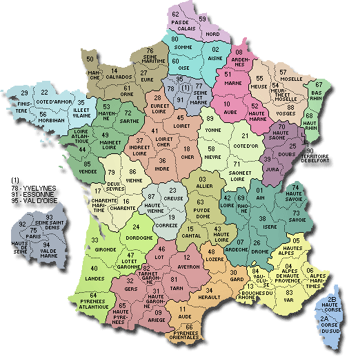 carte des départements de France